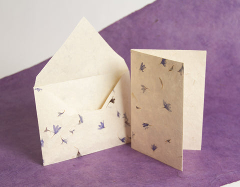 Handmade A6 Lokta Notelets and Envelopes - Pack of 10 sets