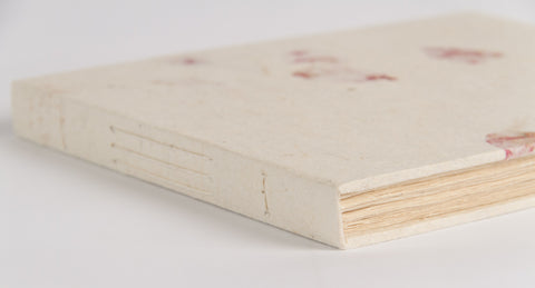 Handmade Guest Book (Lokta Paper) - Rose Petals on Natural