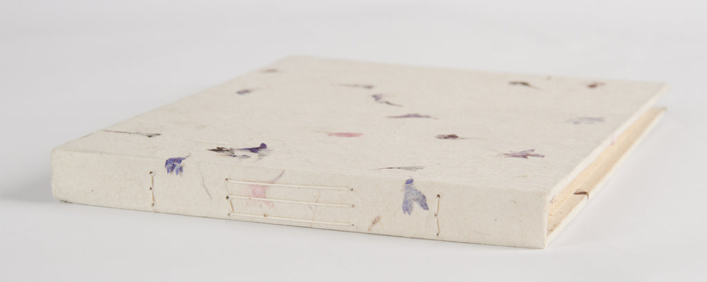 Handmade Guest Book (Lokta Paper) - Cornflower Petals on Natural - Guest Book - Anglesey Paper Company  - 1