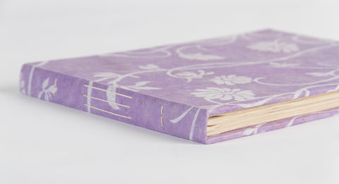 Handmade Guest Book (Lokta Paper) - Lilac long poppy screen printing