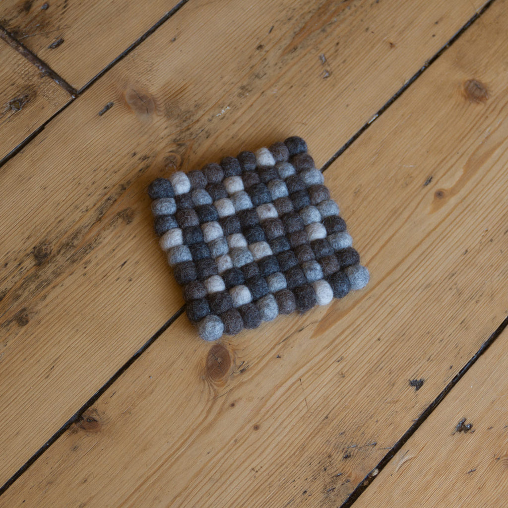 10cm - Felt Ball Coaster  - Square (greys)