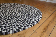 120cm Round Felt Ball Mat - Greys