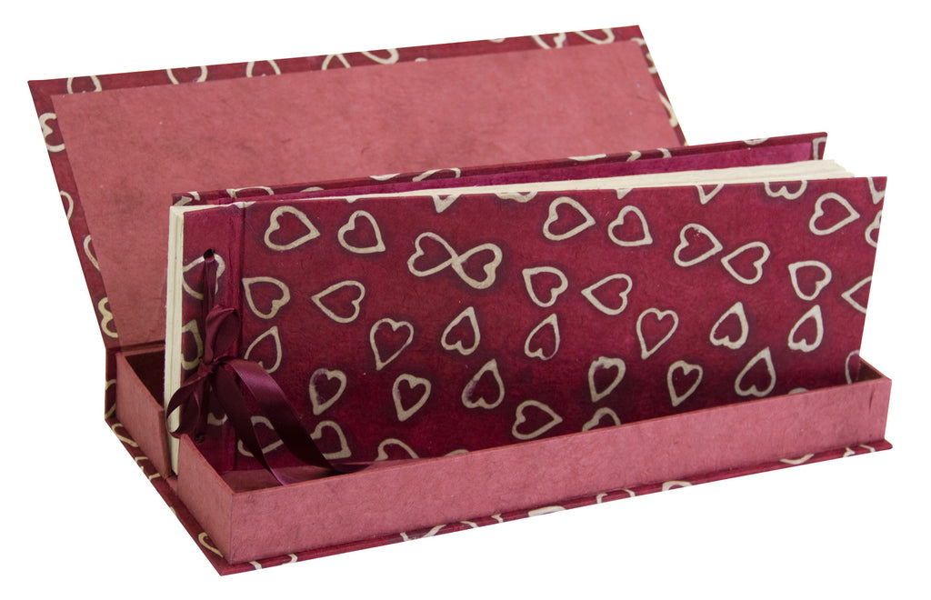 Photo Album Handmade (Boxed) - Panoramic - Batik Hearts on cranberry - Photo Albums - Anglesey Paper Company  - 1