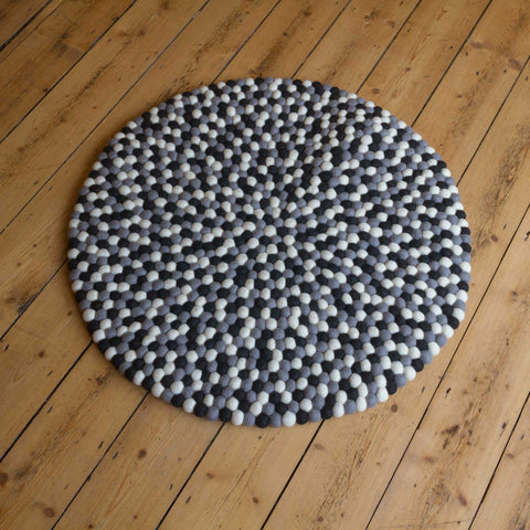 80cm Round Felt Ball Mat - Greys