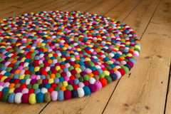 80cm Round Felt Ball Mat - Multi Colour