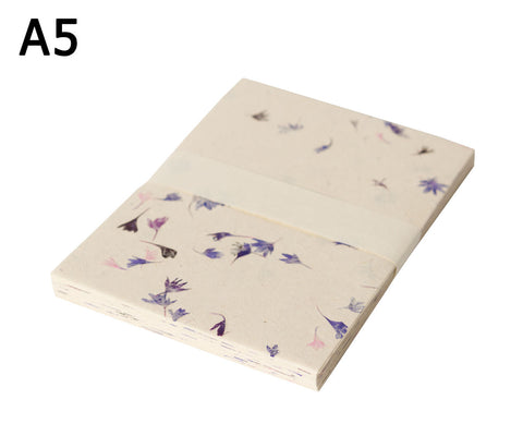 A5 Lokta Paper - Cornflower blue petals on Natural - 50 Sheets