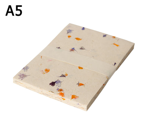 A5 Lokta Paper - Marigold & Cornflower petals on Natural - 50 Sheets