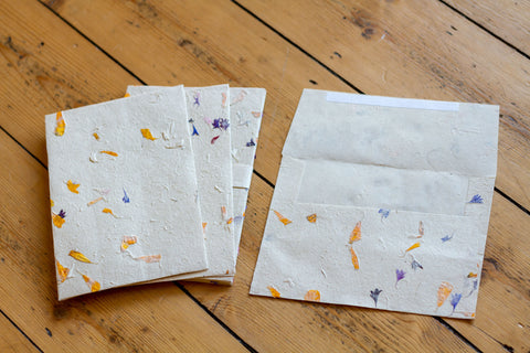 Handmade A5 Lokta Envelopes - Pack of 10 Embedded with Petals