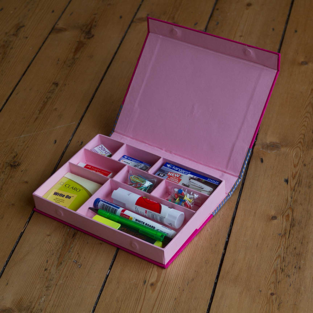 Desk Organiser - Pink - Includes contents