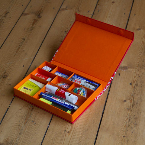 Desk Organiser - Red - Includes contents