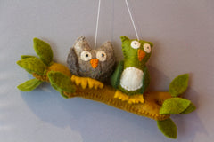 Owls on a Branch (felt garland)