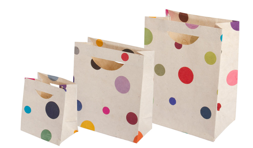 Gift Bag Set - Lokta Paper - Handmade - Set of 3 - Polka Dot - Gift Bag - Anglesey Paper Company