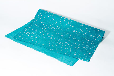 Gift Wrap - Screen Printed Silver Stars on Teal