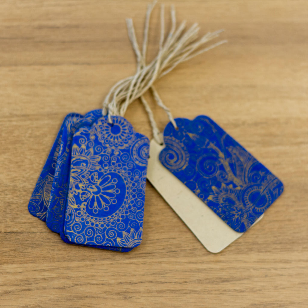 Handmade Gift Tags - Gold Henna on Blue
