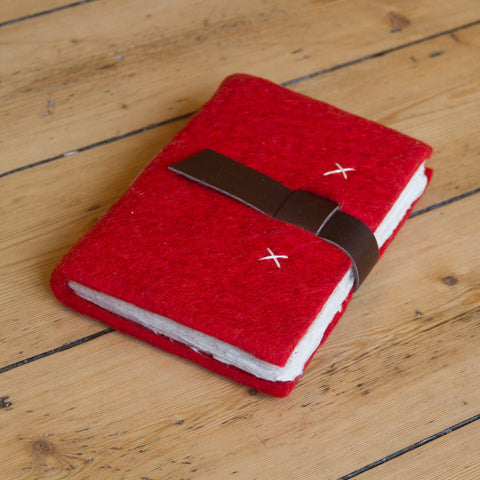 Felt Journal with Belt Fastener - Red