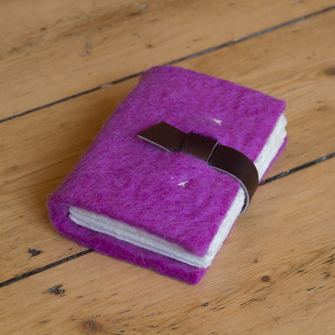 Small - Felt Journal with Belt Fastener - Cerise