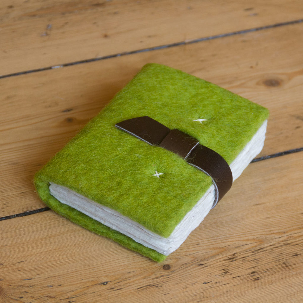 Small - Felt Journal with Belt Fastener - Lime