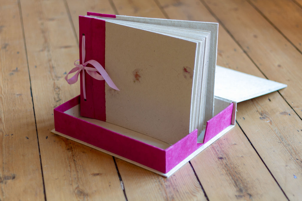 Handmade Boxed Photo Album - Rose Petals on Natural Lokta