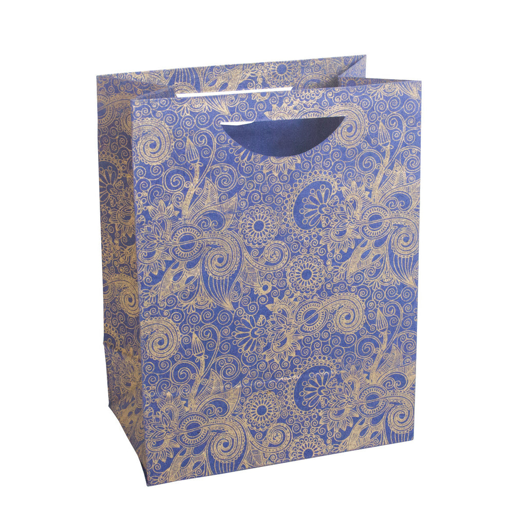 Large Gift Bag - Gold Henna on Blue