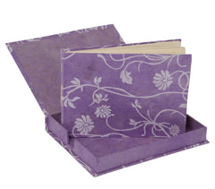 Handmade Guest Book (Lokta Paper) - Lilac long poppy screen printing - Guest Book - Anglesey Paper Company  - 2
