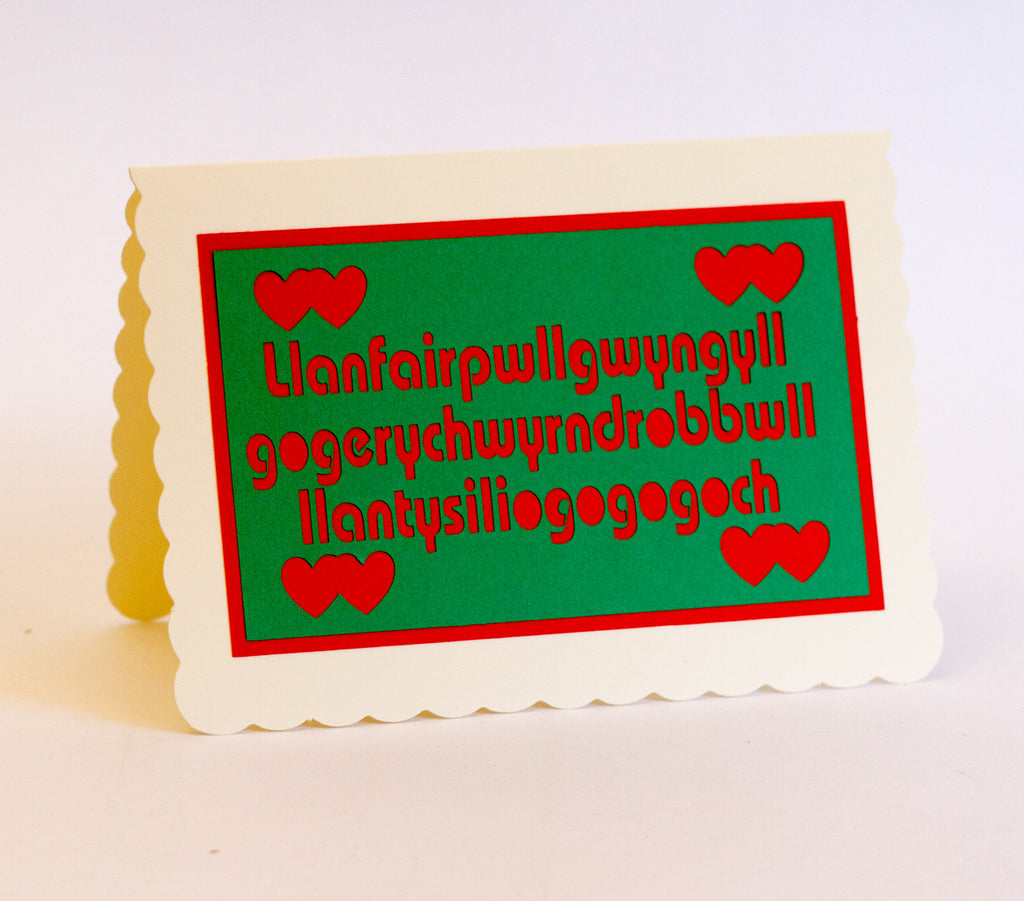 Llanfairpwll Greeting Card - Green on Red