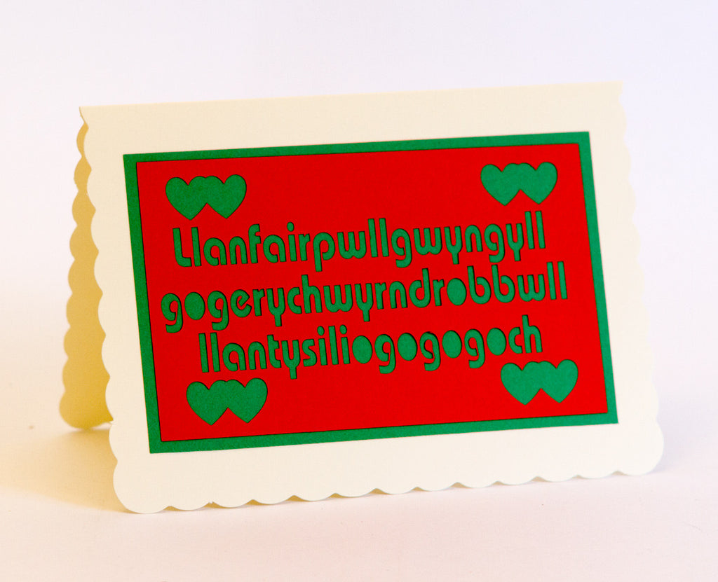 Llanfairpwll Greeting Card - Red on Green