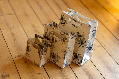 Gift Bag Set - Lokta Paper - Handmade - Set of 3 - Bees
