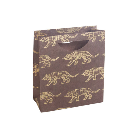 Medium Gift Bag - Gold Tigers on Brown