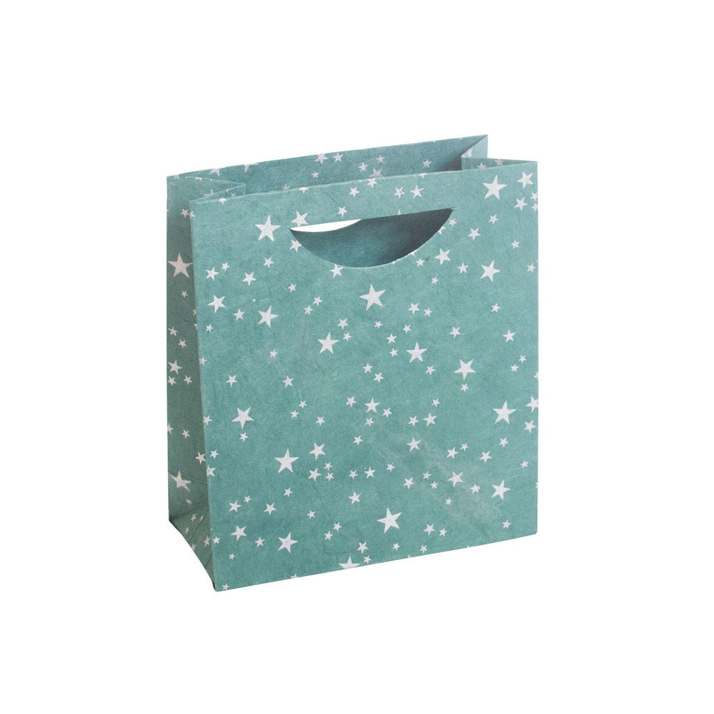 Medium Gift Bag - Silver Stars on Green