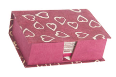 Notelet Set with Box - Handmade Lokta Paper with Batik Hearts design