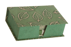 Notelet Set with Box - Handmade Lokta Paper with Batik Leaf design
