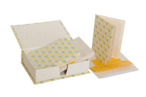 Notelet Set with Box - Handmade Lokta Paper with Daisy Screen Print