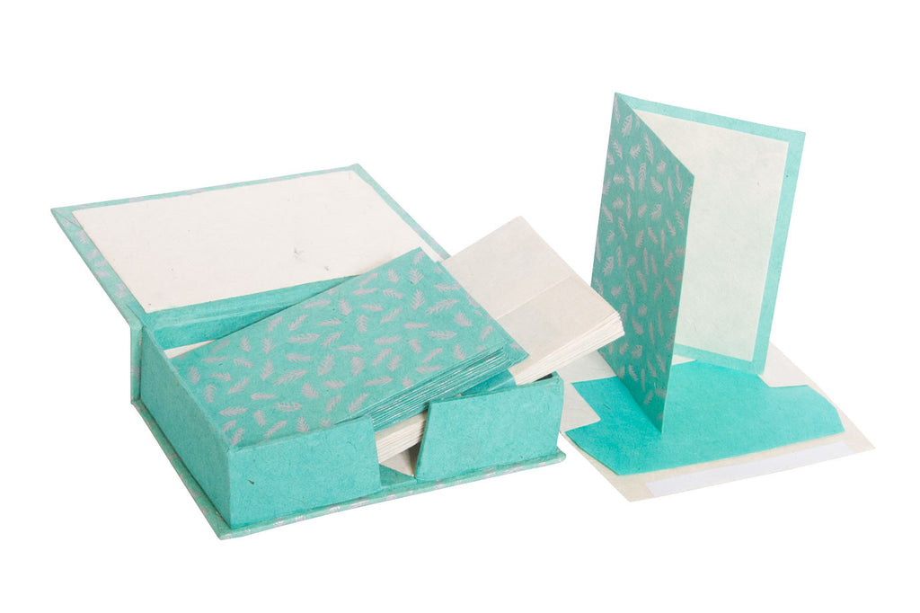 Notelet Set with Box - Handmade Lokta Paper with Silver Screen Print
