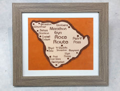 Framed Marathon Eryri Race Route Paper Cut