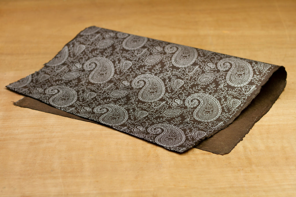 Gift Wrap - Brown and Silver Paisley