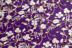 Gift Wrap - Screen Printed Silver & Gold Flowers on Purple