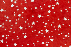 Gift Wrap - Screen Printed Silver Stars on Red
