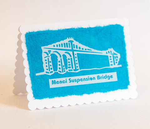 Menai Bridge Greeting Card - Blue