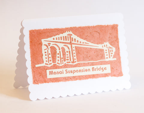 Menai Bridge Greeting Card - Terracotta