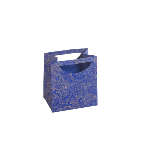 Small Gift Bag - Gold Henna on Blue
