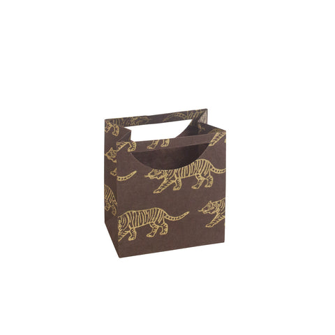 Small Gift Bag - Gold Tigers on Brown