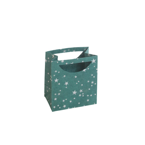 Small Gift Bag - Silver Stars on Green