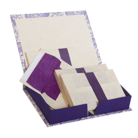 Handmade Stationery Box Set with Lokta Paper ~ Purple