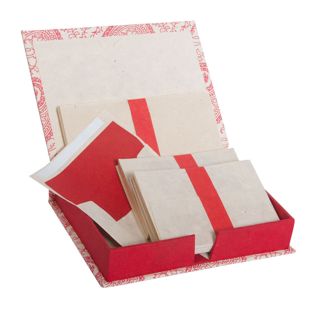 Handmade Stationery Box Set with Lokta Paper ~ Red
