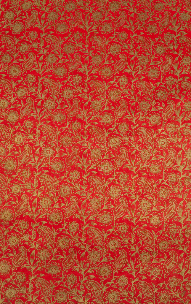 gift wrap screen printed garden gold on red anglesey paper company