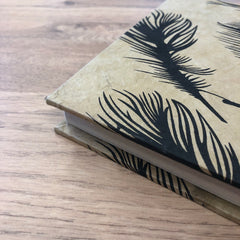 Hardcover Journal ~ Feather on Brown