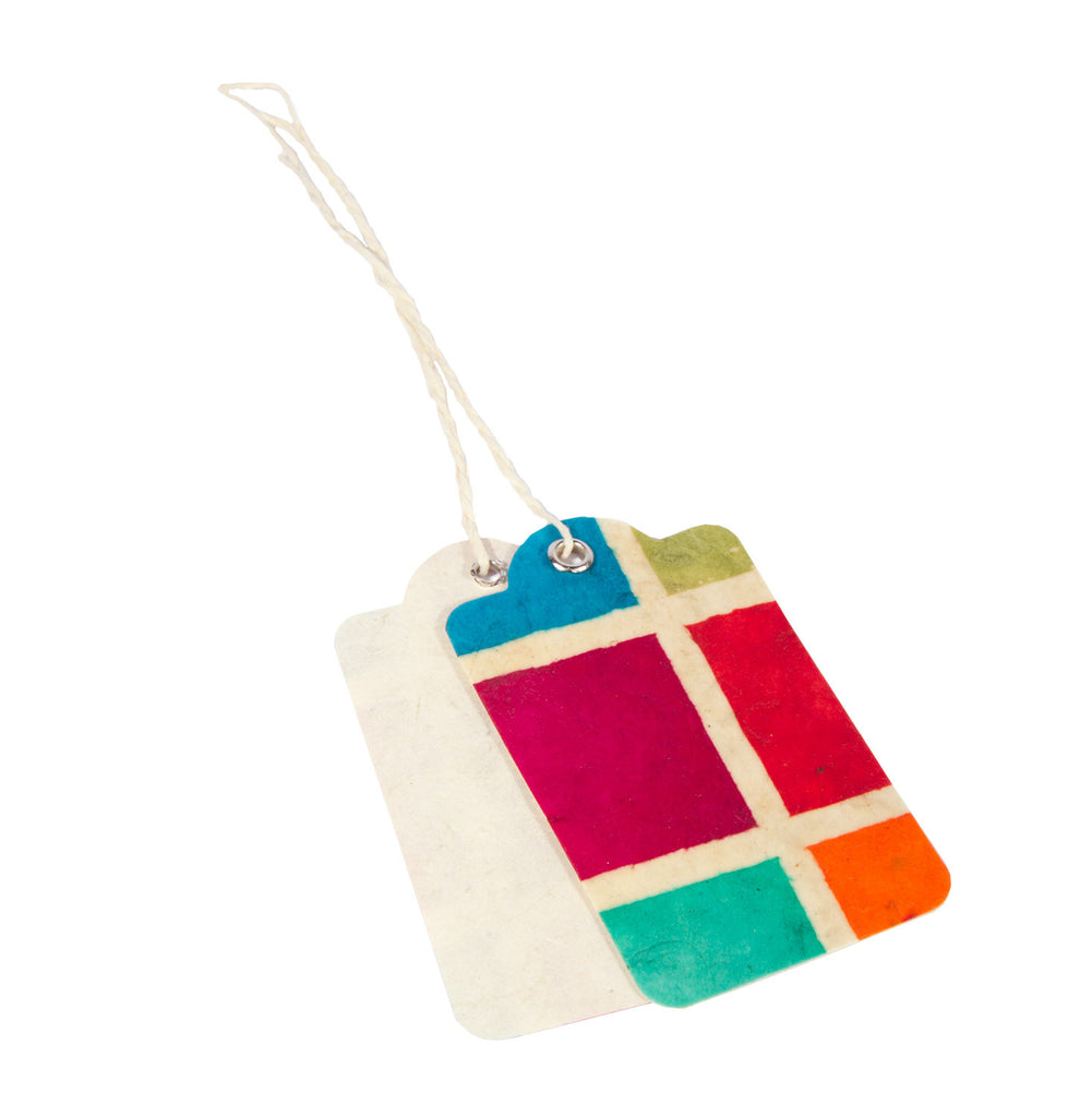 Handmade Gift Tags - Batik Multi Square - Gift Wrap - Anglesey Paper Company