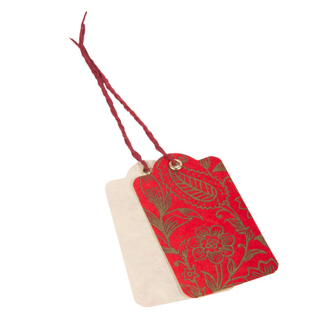 Handmade Gift Tags - Garden Gold on Red