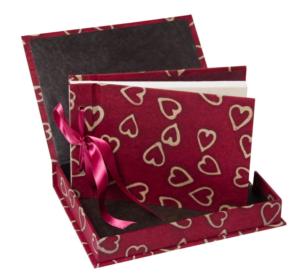Boxed Photo Album - Batik Hearts on Cranberry - Photo Albums - Anglesey Paper Company  - 1
