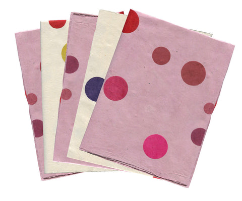 Gift Wrapping Paper Pack -  Polka Dots White and Pink